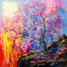 cherry blossom painting 50x50x2 cm 2018 by olha figurative