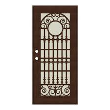 aluminum security screen door. Spaniard Copperclad Right-Hand Surface Mount Aluminum Security Door With Beige Perforated Screen H