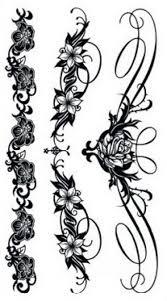Tetovací Obtisky černé 15 X 85 Cm Květiny řada