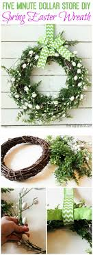 How to make your own Five Minute Dollar Store DIY Spring Easter Wreath via  The Happy.