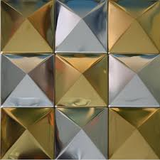 decorative wall tiles. TST Pyramid Metal Tiles Golden And Silver Glossy Mosaic Decorative Wall Design