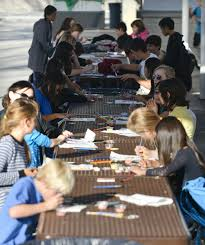 middle school lunch table. Perfect Table Students Gather At The Lunch Tables Of Ladera Ranch Middle School And Work  On Completing Designs Their Tiles Throughout Lunch Table
