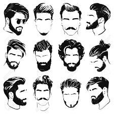 男性の髪型のシルエットのベクター イラスト