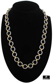 rochet mens chain link necklace stainless steel techno gold circles