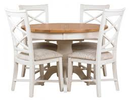 mark webster padstow painted dining set round extending with 4 cross back chairs
