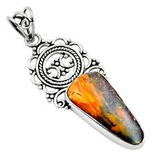 details about natural brown boulder opal 925 sterling silver pendant jewelry m81328