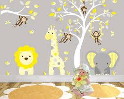 safari decal yellow and grey nursery decor cheeky monkeys giraffe elephant  on baby room jungle wall art with safari decal yellow and grey nursery decor cheeky monkeys giraffe