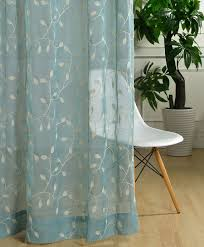 custom size curtains custom sheer curtain voile panel with cotton embroidery pattern one