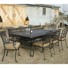 cast aluminium 13 piece extension dining setting table includes umbrella hole