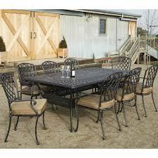 cast aluminium 13 piece extension dining setting table includes umbrella hole