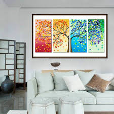 new arrival colorful tree 5d diy full drill diamond painting 4 pictures combination kit