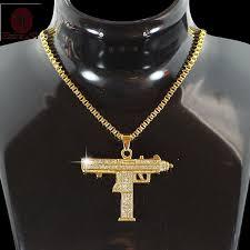 whole hiphop jewelry gothic gold chain necklace submachine gun choker necklace collar cs go hip hop friendship women men jewellery long pendant necklace
