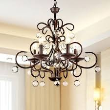wrought iron and crystal 5 light chandelier ping great deals on