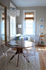 ikea crystal chandelier dining room eclectic with small space tibetan rug round dining table