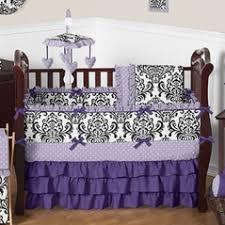 Lavender, Purple, Black and White Sloane Baby Bedding - 9pc Girls Crib Set  by