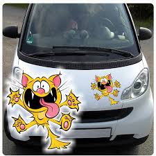 Aufkleber Auto Katze Kätzchen Motorhauben Sticker Tattoo Fun