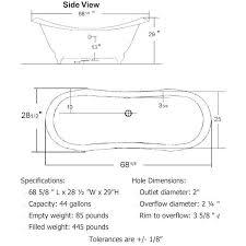 cambridge 68 inch ades 68 double slipper clawfoot bathtub chart