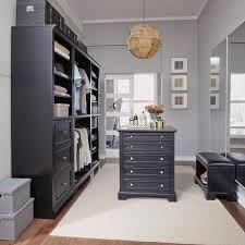 classic black 5 piece closet organizer with 30 inch storage island bedford rc willey furniture