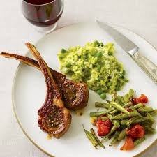 Lamb Chops With Roasted Vegetables And Spring Pea Risotto
