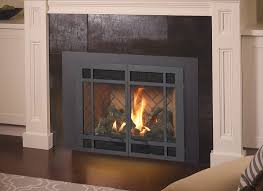 fireplacex 34 dvl large gas insert black painted architectural double door