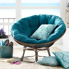 Attractive Teal Mini Papasan Chair With Traditional Throw Pillows Plus Fur  Rug For Modern White Living Room