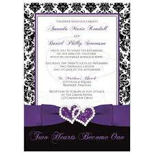 Black And Purple Invitations Wedding Invitation Optional Photo Template Black And White Damask Purple Ribbon Joined Hearts