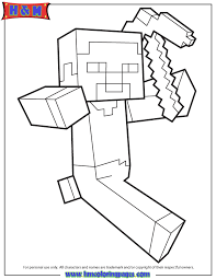 Steve Running Holding Pickaxe Coloring Page H M Coloring Pages