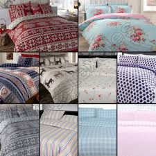 thermal 100 brushed cotton flannelette quilt duvet cover bed set cosy warm soft