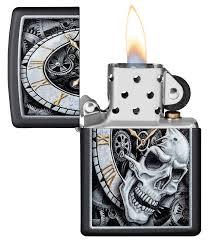 "<b>Зажигалка</b> ""<b>Zippo</b>. <b>Skull Clock</b>"" с покрытием Black Matte, 36x12x56 ..."