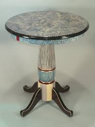 hand painted round pedestal table small