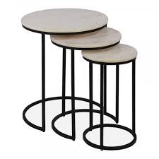 cult living madison nesting side tables white marble top black