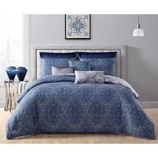 addison house candice 8 piece navy blue king comforter set with euro shams cdc8cskingghnv the home depot