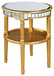 mirrored round table gold
