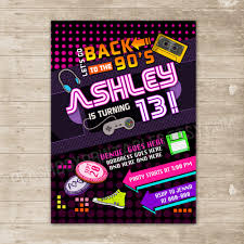 Back To The 90s Invitation Nineties Party Invite Flashback