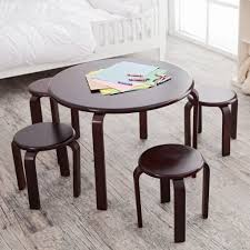 amusing kids table 4 chairs for your kid playroom decor round dark brown kids table