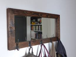 Coat Rack With Mirror Mirror Coat Rack Rustic Mirror Antique Hooks Entryway 8