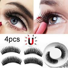 4 Pcs/<b>1 Pairs 3D</b> Magnetic two magnets False <b>Eyelashes</b> Natural ...
