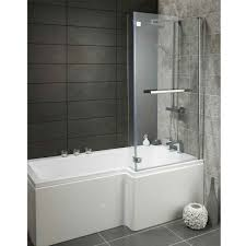lily heavy duty l shaped shower bath with glass screen front panel 1700