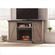 tv stand electric fireplace with sliding barn door in ash