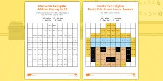 Addition Facts To 20 Chart Ks1 Charlie The Firefighter Addition Facts Up To 20 Maths