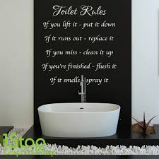Wall Sticker Bathroom Toilet Rules Wall Sticker Quote Bathroom Home Wall Art Decal