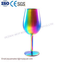 12 oz stainless steel wine glasses with rainbow colors