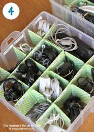 Organize Your Cords (using an ornament box