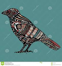 черный ворон с красочной абстрактной картиной на теле иллюстрация