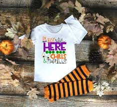 Im Just Here For The Thrills And Chills Candy Day Halloween Fall Autumn Shirt