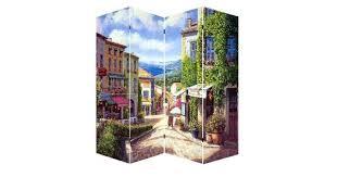 "<b>4 Panel</b> French Provence Canvas <b>Room Divider</b>, 71"""