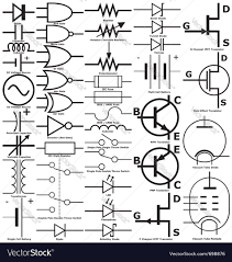 electronic symbols royalty free vector image vectorstock electrical wiring symbols and meanings at Free Wiring Symbols