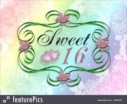 celebration image and ilration position of on rainbow colors background for sweet 16 greeting card