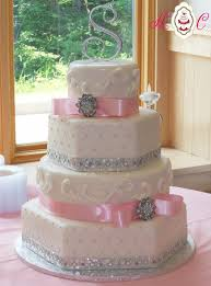 wedding cakes pink and white and silver bill levkoff capri blue