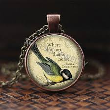 Hope Is The Thing With Feathers Logo Pendant Necklace Emily Dickinson Literary Quote Handmade Pendant Literary Jewelry